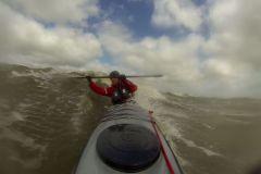 Grönlandtechnik hohe Stütze in brechender Welle