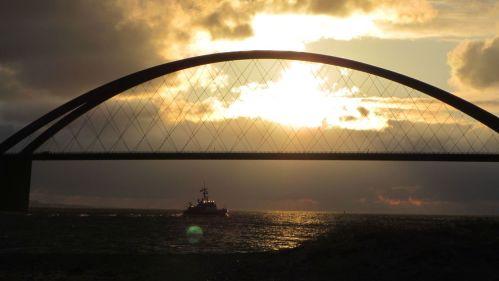 Fehmarn Sund Brücke Sonnenuntergang